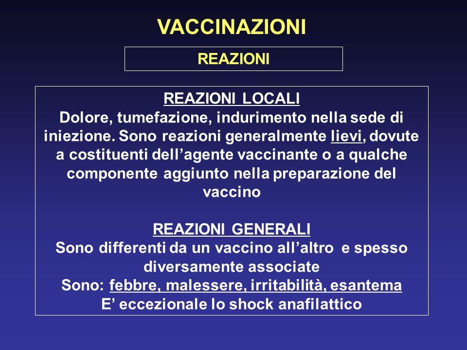 VACCINAZIONI REAZIONI LOCALI Dolore, tumefazione, indurimento nella sede di iniezione. Sono reazioni generalmente lievi, dovute a costituenti dellagen