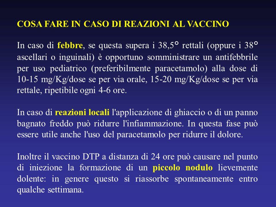 COSA FARE IN CASO DI REAZIONI AL VACCINO In caso di febbre, se questa supera i 38,5° rettali (oppure i 38° ascellari o inguinali) è opportuno somministrare un antifebbrile per uso pediatrico (preferibilmente paracetamolo) alla dose di 10-15 mg/Kg/dose se per via orale, 15-20 mg/Kg/dose se per via rettale, ripetibile ogni 4-6 ore.