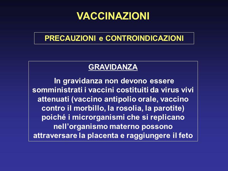 GRAVIDANZA In gravidanza non devono essere somministrati i vaccini costituiti da virus vivi attenuati (vaccino antipolio orale, vaccino contro il morbillo, la rosolia, la parotite) poiché i microrganismi che si replicano nellorganismo materno possono attraversare la placenta e raggiungere il feto PRECAUZIONI e CONTROINDICAZIONI VACCINAZIONI