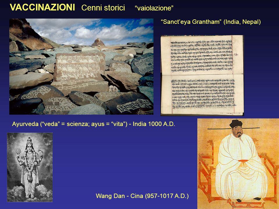 VACCINAZIONI Cenni storici vaiolazione Ayurveda (veda = scienza; ayus = vita) - India 1000 A.D. Sancteya Grantham (India, Nepal) Wang Dan - Cina (957-