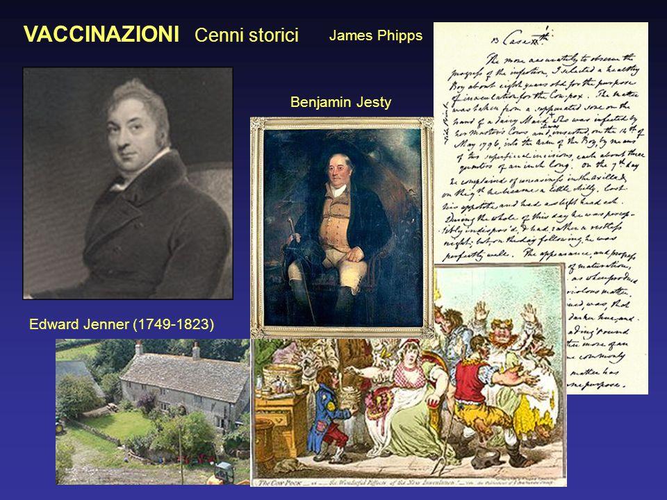 VACCINAZIONI Cenni storici Edward Jenner (1749-1823) James Phipps Benjamin Jesty