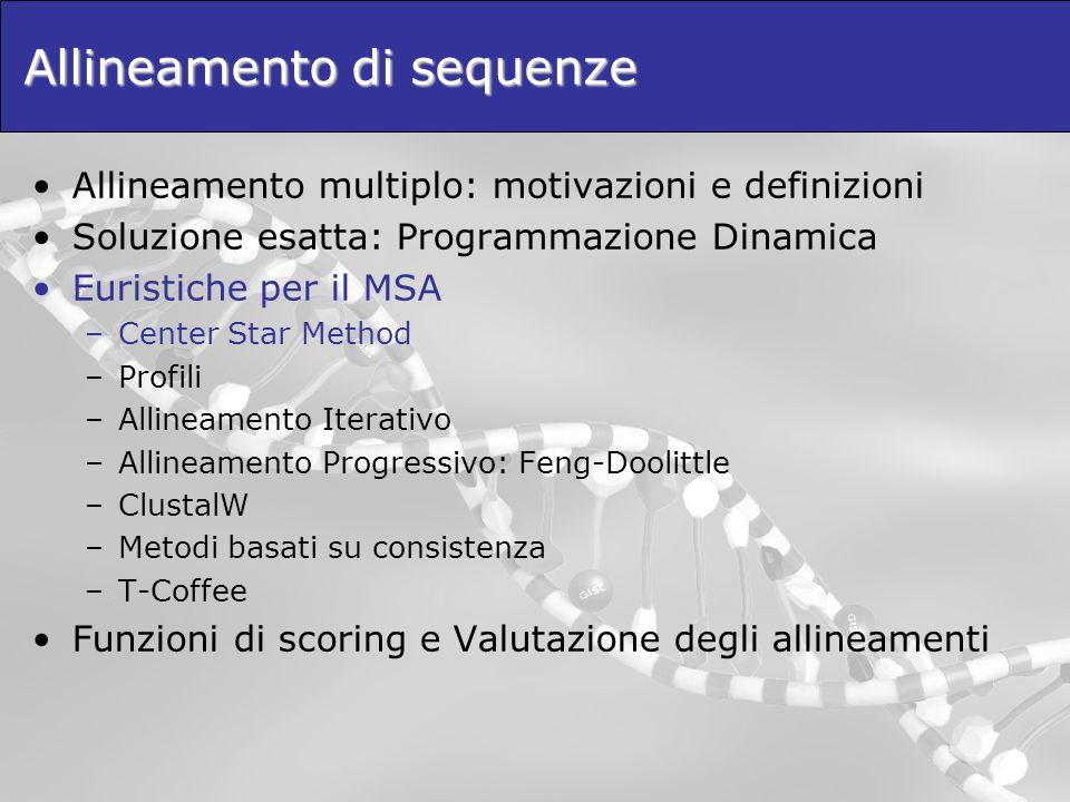 Allineamento di sequenze Allineamento multiplo: motivazioni e definizioni Soluzione esatta: Programmazione Dinamica Euristiche per il MSA –Center Star