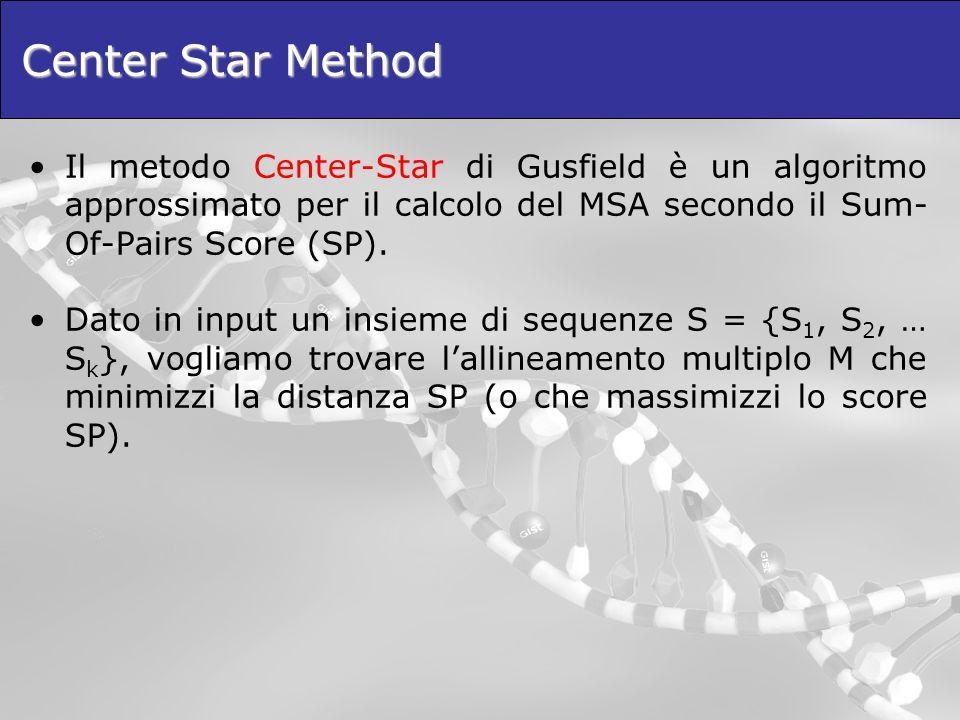 Center Star Method Il metodo Center-Star di Gusfield è un algoritmo approssimato per il calcolo del MSA secondo il Sum- Of-Pairs Score (SP). Dato in i