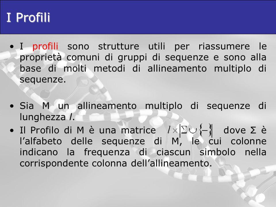 I Profili I profili sono strutture utili per riassumere le proprietà comuni di gruppi di sequenze e sono alla base di molti metodi di allineamento mul