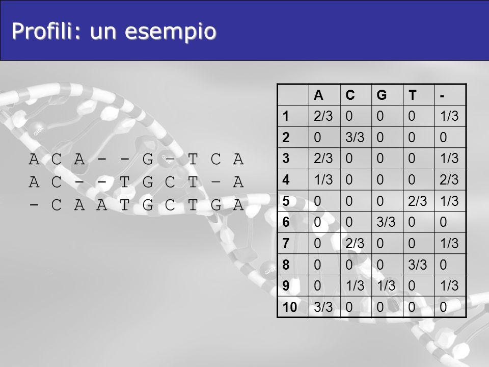 Profili: un esempio A C A - - G – T C A A C - - T G C T – A - C A A T G C T G A ACGT- 12/30001/3 203/3000 32/30001/3 4 0002/3 5000 1/3 6003/300 702/30