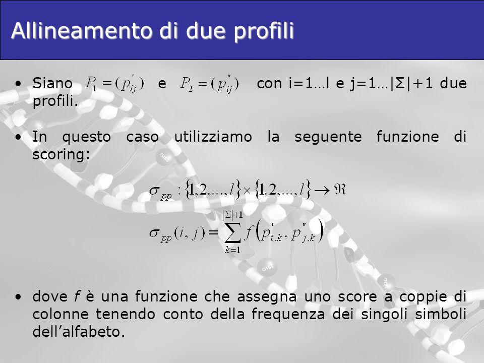 Allineamento di due profili Siano e con i=1…l e j=1…|Σ|+1 due profili. In questo caso utilizziamo la seguente funzione di scoring: dove f è una funzio
