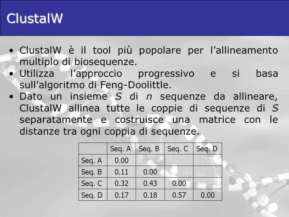 ClustalW ClustalW è il tool più popolare per lallineamento multiplo di biosequenze. Utilizza lapproccio progressivo e si basa sullalgoritmo di Feng-Do