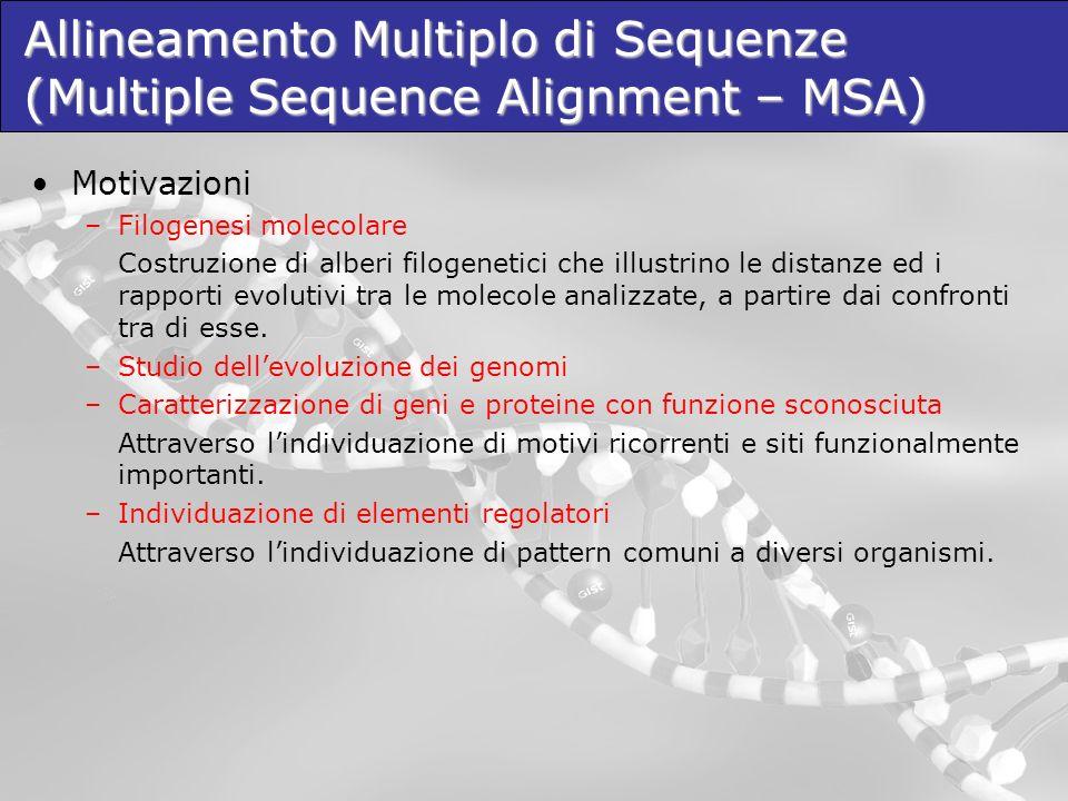 Esistono numerose funzioni di scoring oltre al Sum- Of-Pairs, utilizzate dai tools di MSA come funzioni obiettivo da massimizzare e per valutare gli allineamenti prodotti.
