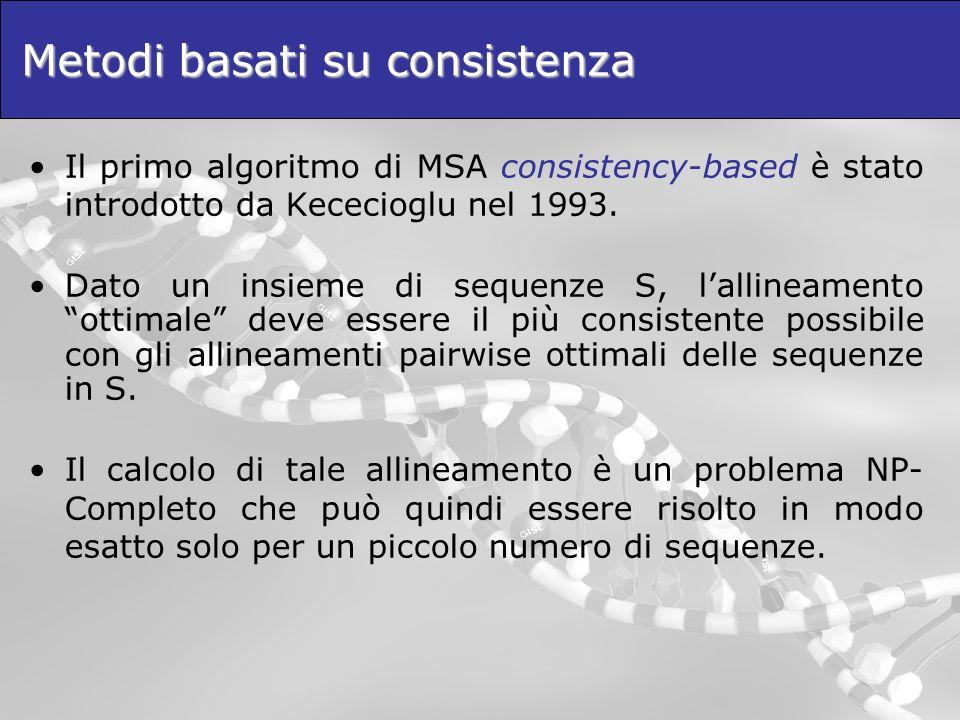 Metodi basati su consistenza Il primo algoritmo di MSA consistency-based è stato introdotto da Kececioglu nel 1993. Dato un insieme di sequenze S, lal