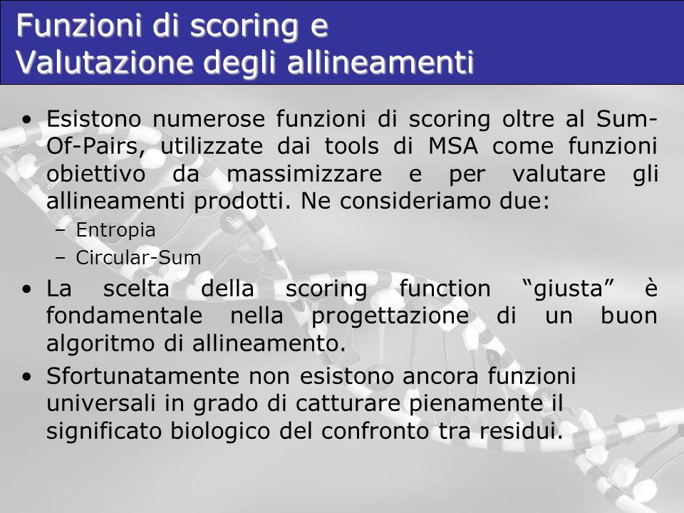 Esistono numerose funzioni di scoring oltre al Sum- Of-Pairs, utilizzate dai tools di MSA come funzioni obiettivo da massimizzare e per valutare gli a