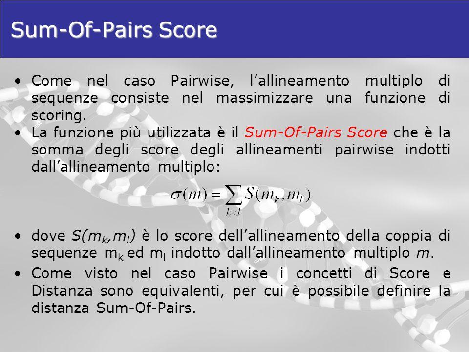 Sum-Of-Pairs Score: un esempio Se scegliamo di utilizzare una metrica di tipo crisp che assegna 1 ad ogni match e 0 ad ogni mismatch si ha: A A C T G – T - - A G A A C – G – T A T A C A A C T – A T A - - G