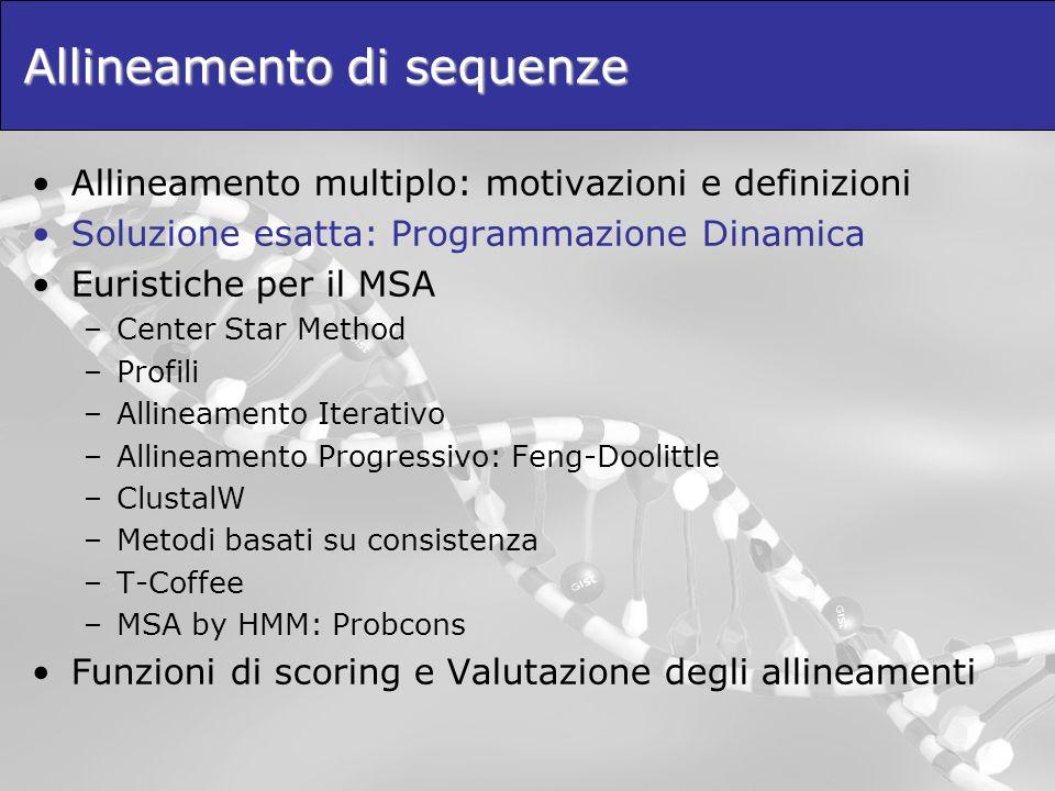 T-Coffee T-Coffee (Tree-based COFFEE) è uneuristica per il MSA basata sulla funzione-obiettivo COFFEE.