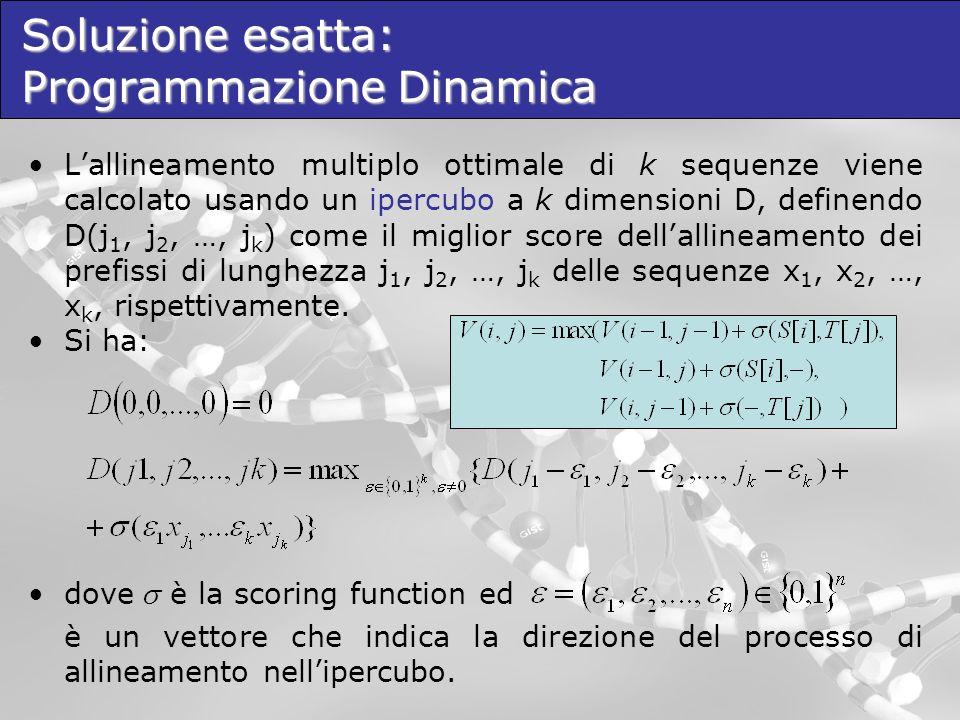 Programmazione Dinamica: Ipercubo Date le sequenze S 1 =VSNS, S 2 =SNA ed S 3 =AS si ottiene il seguente ipercubo a 3 dimensioni: Lalgoritmo ha complessità spaziale e temporale O(n k ), dove n è la lunghezza delle sequenze e k il numero di sequenze.