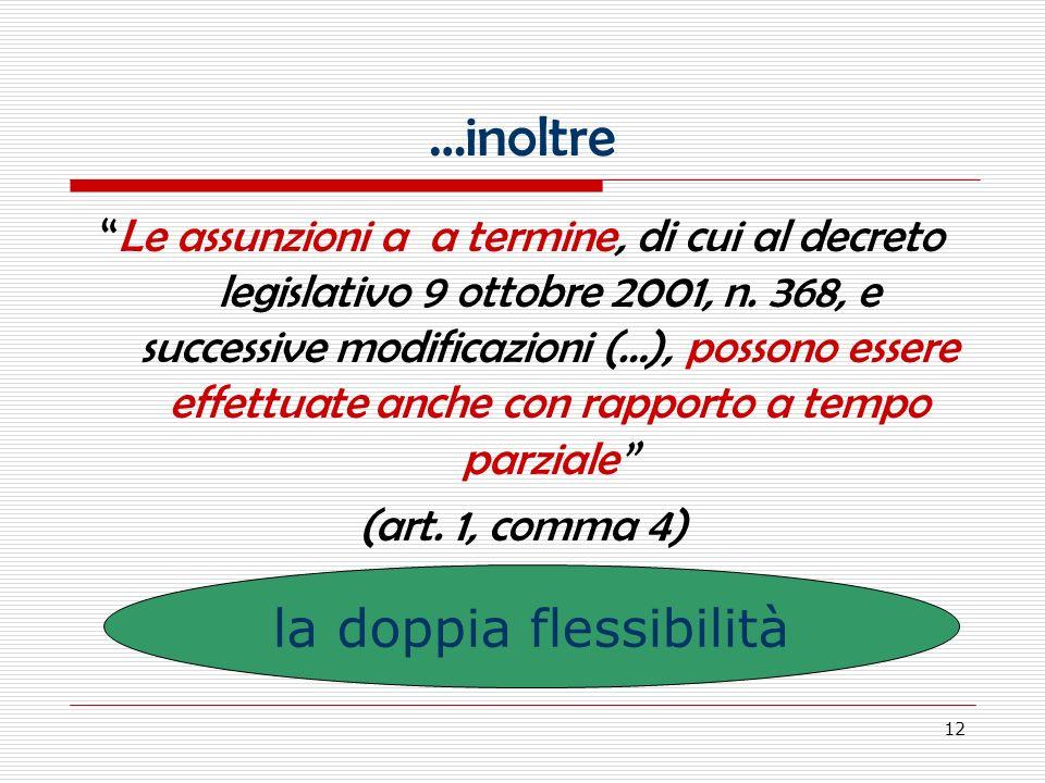 12 …inoltre Le assunzioni a a termine, di cui al decreto legislativo 9 ottobre 2001, n.