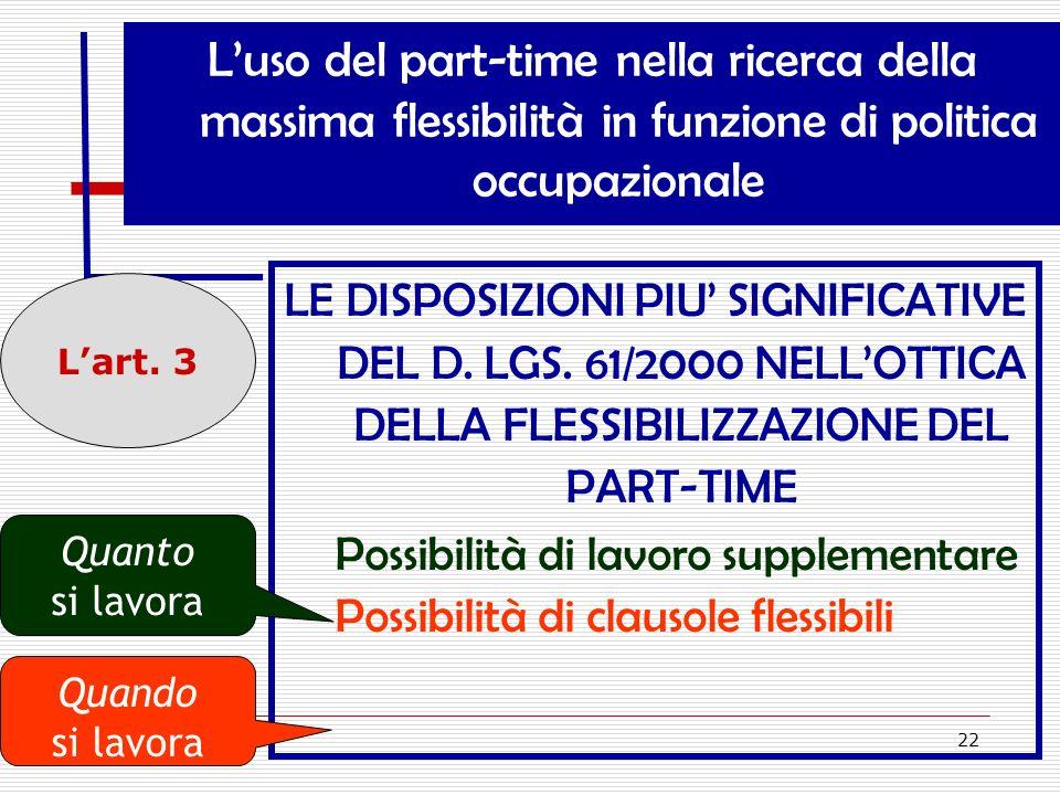 22 Luso del part-time nella ricerca della massima flessibilità in funzione di politica occupazionale LE DISPOSIZIONI PIU SIGNIFICATIVE DEL D. LGS. 61/