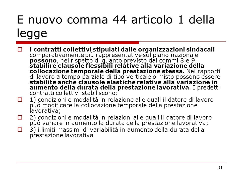 31 E nuovo comma 44 articolo 1 della legge i contratti collettivi stipulati dalle organizzazioni sindacali comparativamente più rappresentative sul pi