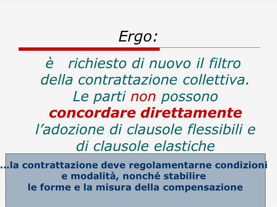 32 Ergo: è richiesto di nuovo il filtro della contrattazione collettiva. Le parti non possono concordare direttamente ladozione di clausole flessibili