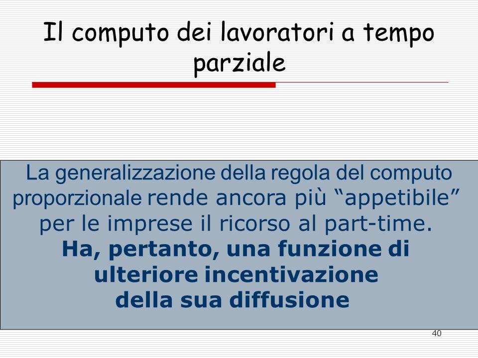 40 Il computo dei lavoratori a tempo parziale La generalizzazione della regola del computo proporzionale rende ancora più appetibile per le imprese il ricorso al part-time.