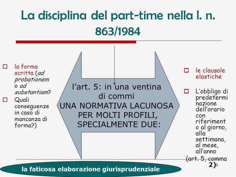 6 La disciplina del part-time nella l. n. 863/1984 la forma scritta (ad probationem o ad substantiam? Quali conseguenze in caso di mancanza di forma?)