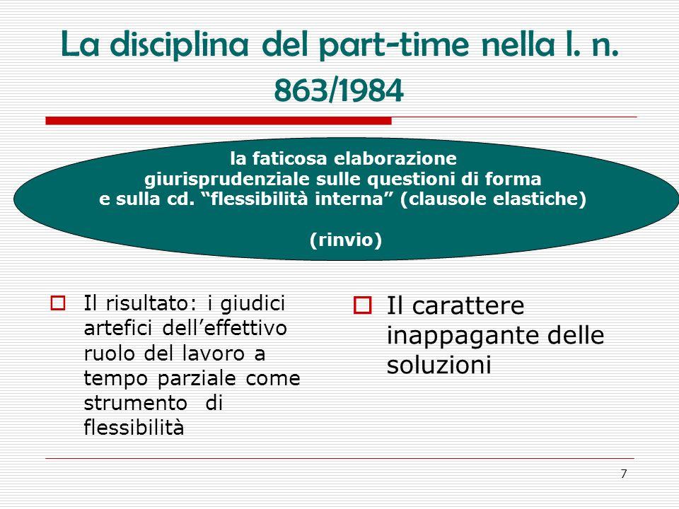 38 Flessibilità e/o elasticità del part- time… nella precedente disciplina: il diritto alla maggiorazione retributiva nellattuale disciplina: il diritto a specifiche compensazio ni (anche riposi compensativi) … e in cambio cosa?