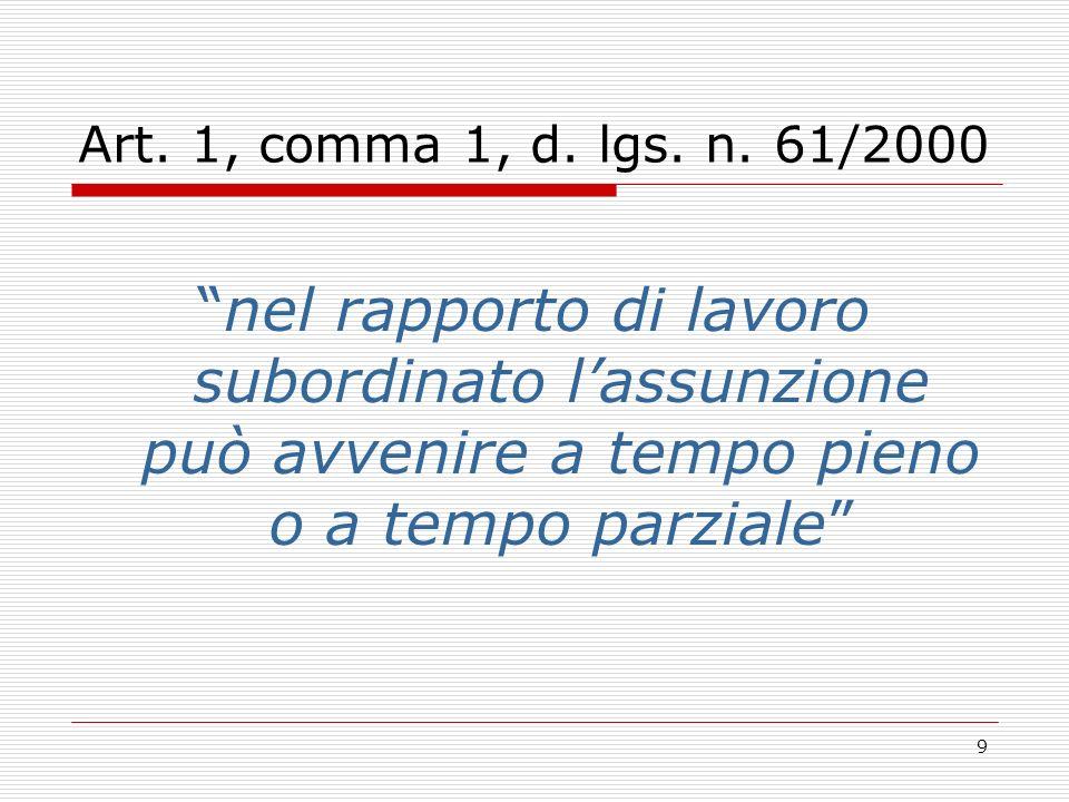 9 Art. 1, comma 1, d. lgs. n. 61/2000 nel rapporto di lavoro subordinato lassunzione può avvenire a tempo pieno o a tempo parziale