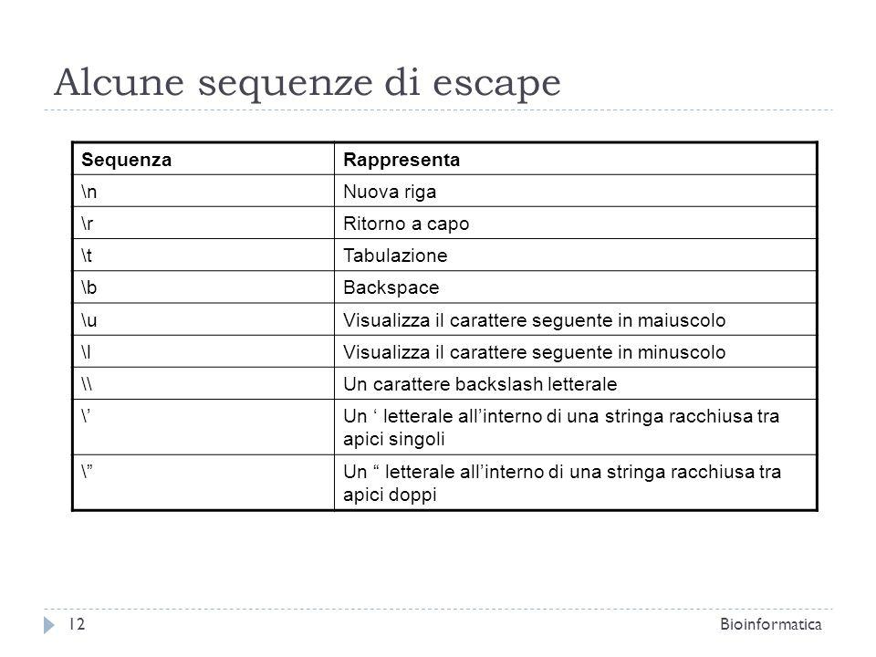 Alcune sequenze di escape SequenzaRappresenta \nNuova riga \rRitorno a capo \tTabulazione \bBackspace \uVisualizza il carattere seguente in maiuscolo