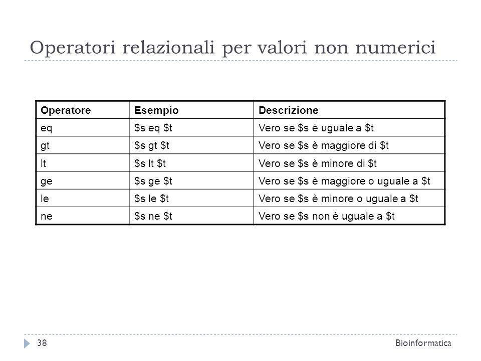 Operatori relazionali per valori non numerici OperatoreEsempioDescrizione eq$s eq $tVero se $s è uguale a $t gt$s gt $tVero se $s è maggiore di $t lt$
