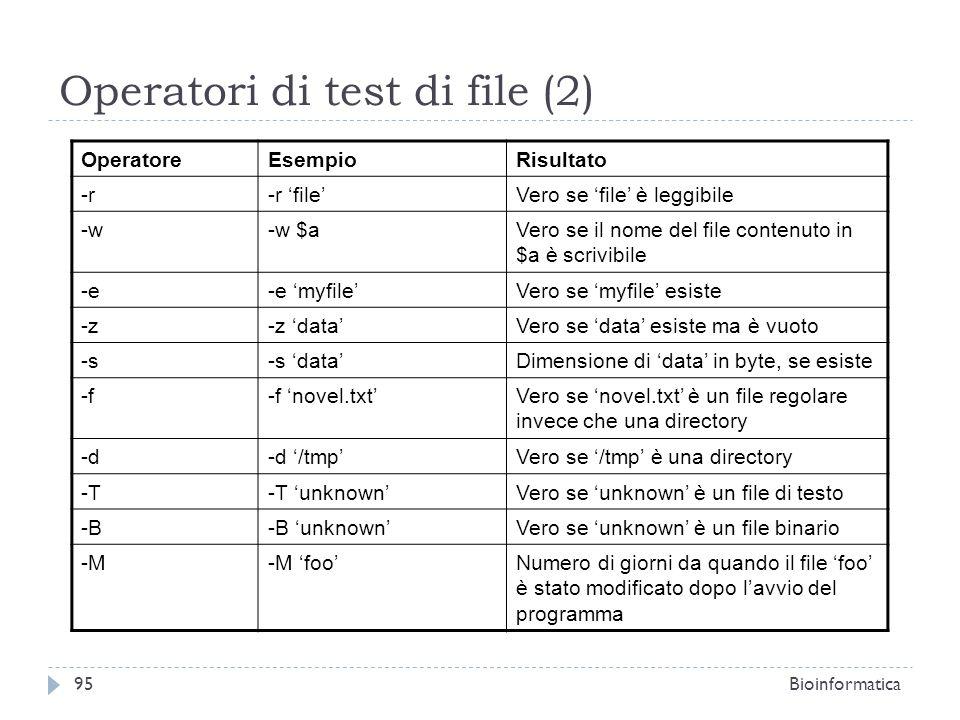 Operatori di test di file (2) OperatoreEsempioRisultato -r-r fileVero se file è leggibile -w-w $aVero se il nome del file contenuto in $a è scrivibile