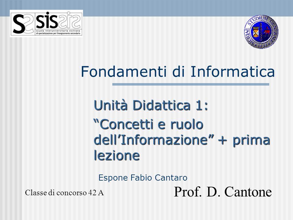 Fondamenti di Informatica Unità Didattica 1: Concetti e ruolo dellInformazione + prima lezione Classe di concorso 42 A Prof. D. Cantone Espone Fabio C