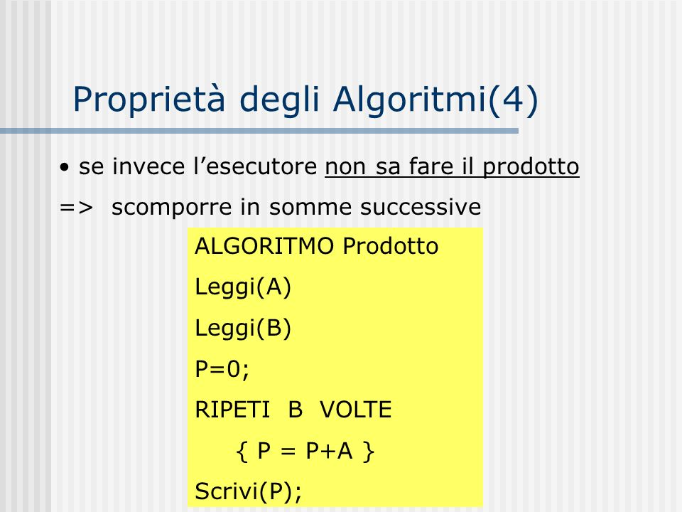 se invece lesecutore non sa fare il prodotto => scomporre in somme successive ALGORITMO Prodotto Leggi(A) Leggi(B) P=0; RIPETI B VOLTE { P = P+A } Scr