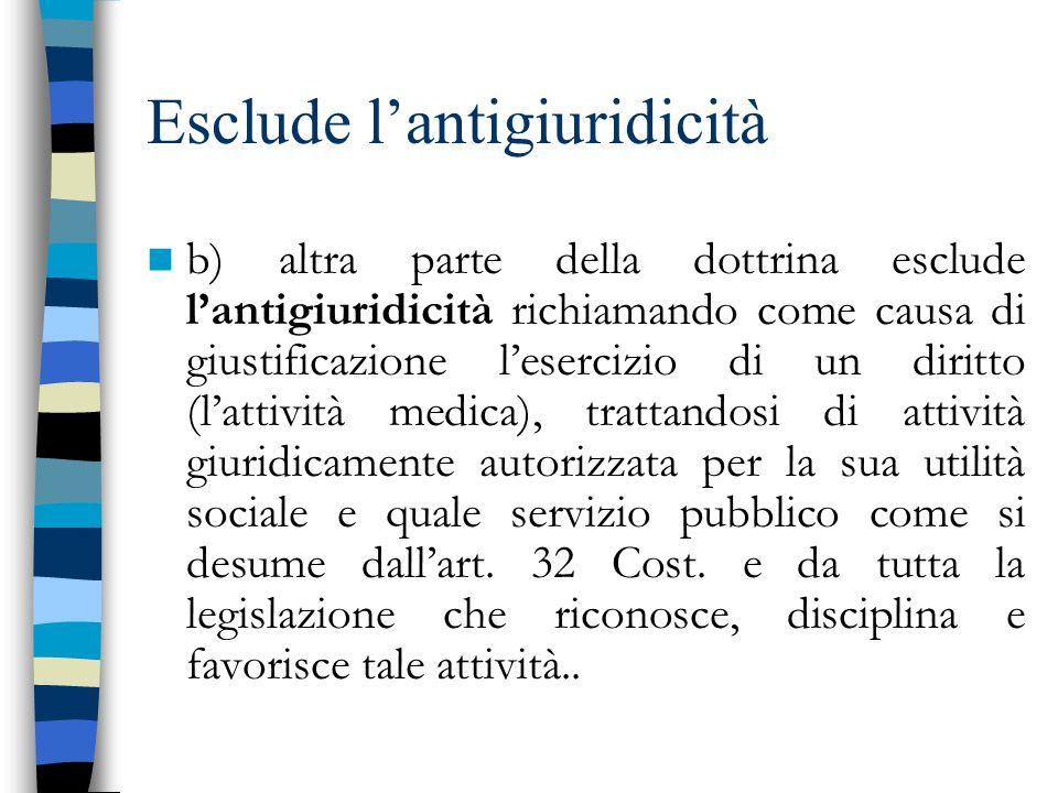 Esclude lantigiuridicità b) altra parte della dottrina esclude lantigiuridicità richiamando come causa di giustificazione lesercizio di un diritto (la