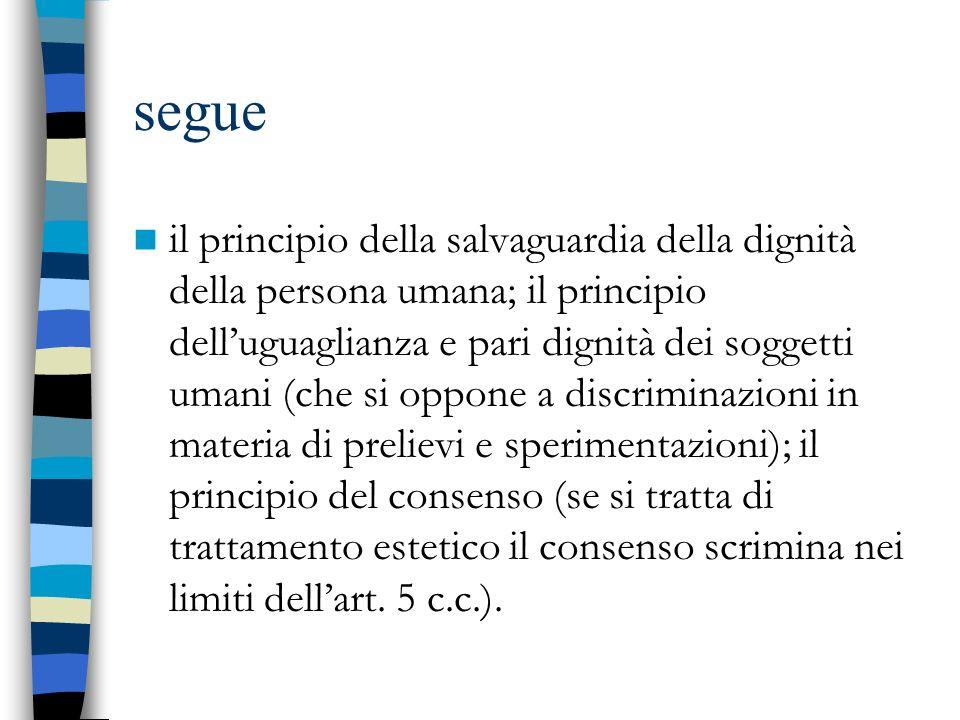 segue il principio della salvaguardia della dignità della persona umana; il principio delluguaglianza e pari dignità dei soggetti umani (che si oppone