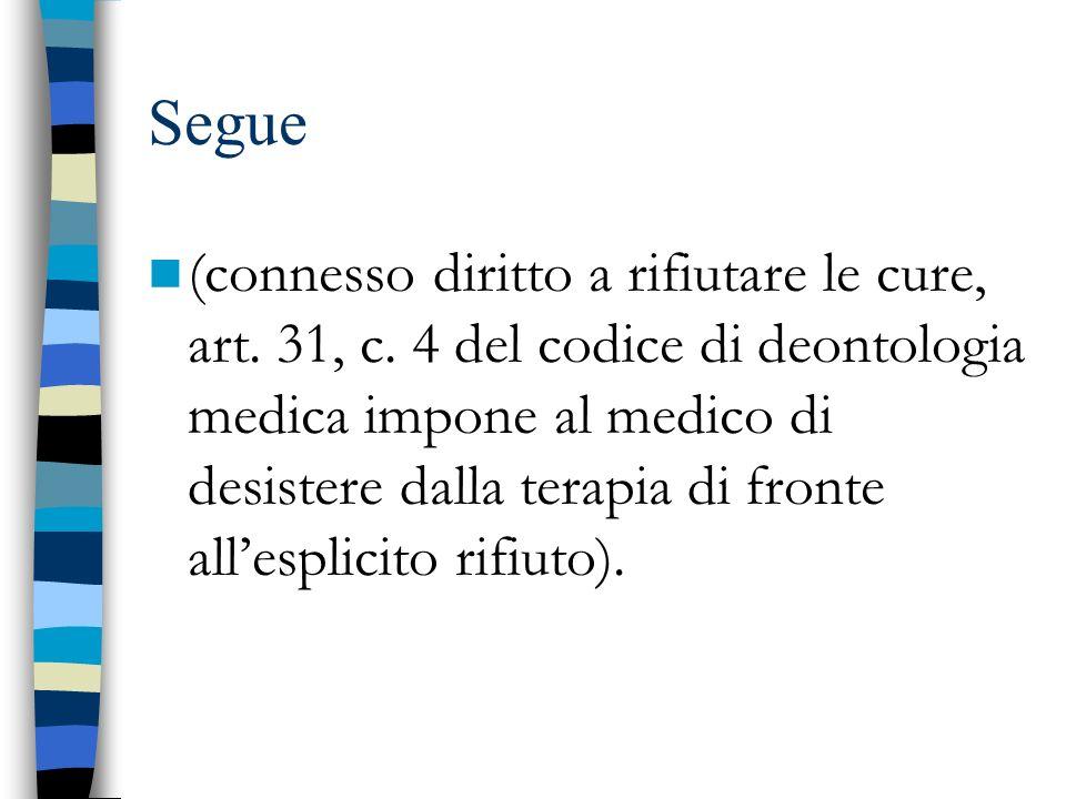 Segue (connesso diritto a rifiutare le cure, art. 31, c. 4 del codice di deontologia medica impone al medico di desistere dalla terapia di fronte alle