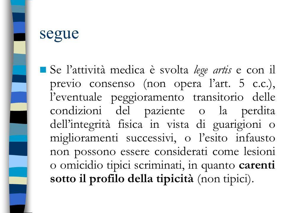 segue Se lattività medica è svolta lege artis e con il previo consenso (non opera lart. 5 c.c.), leventuale peggioramento transitorio delle condizioni