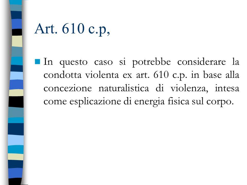 Art. 610 c.p, In questo caso si potrebbe considerare la condotta violenta ex art. 610 c.p. in base alla concezione naturalistica di violenza, intesa c