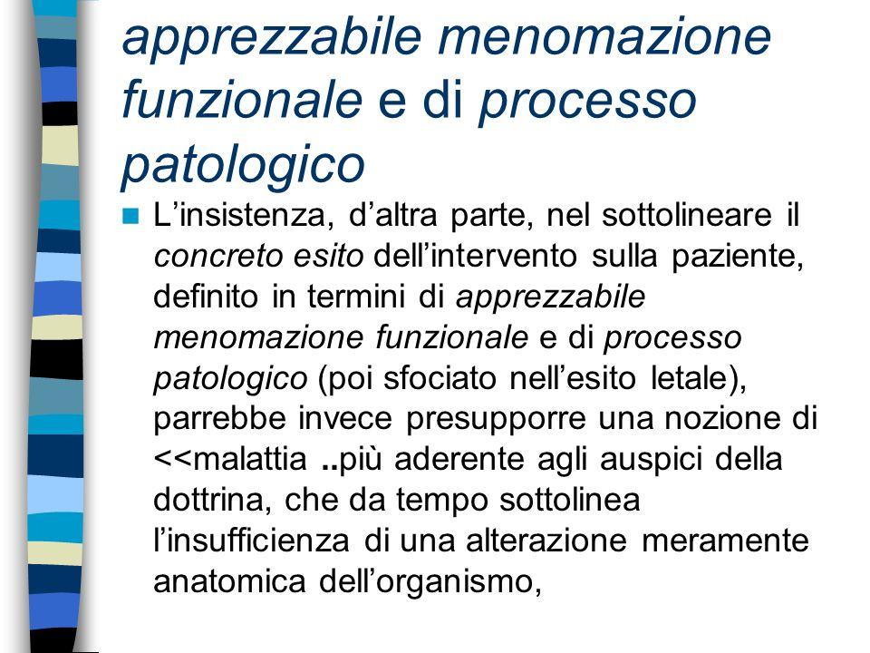 apprezzabile menomazione funzionale e di processo patologico Linsistenza, daltra parte, nel sottolineare il concreto esito dellintervento sulla pazien