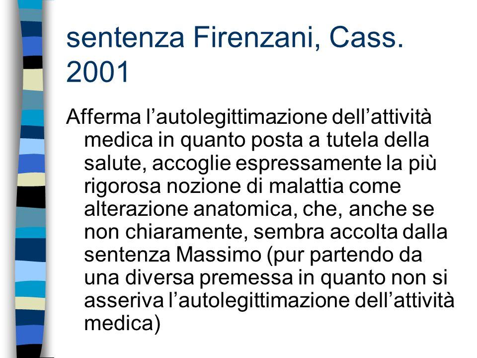 sentenza Firenzani, Cass. 2001 Afferma lautolegittimazione dellattività medica in quanto posta a tutela della salute, accoglie espressamente la più ri