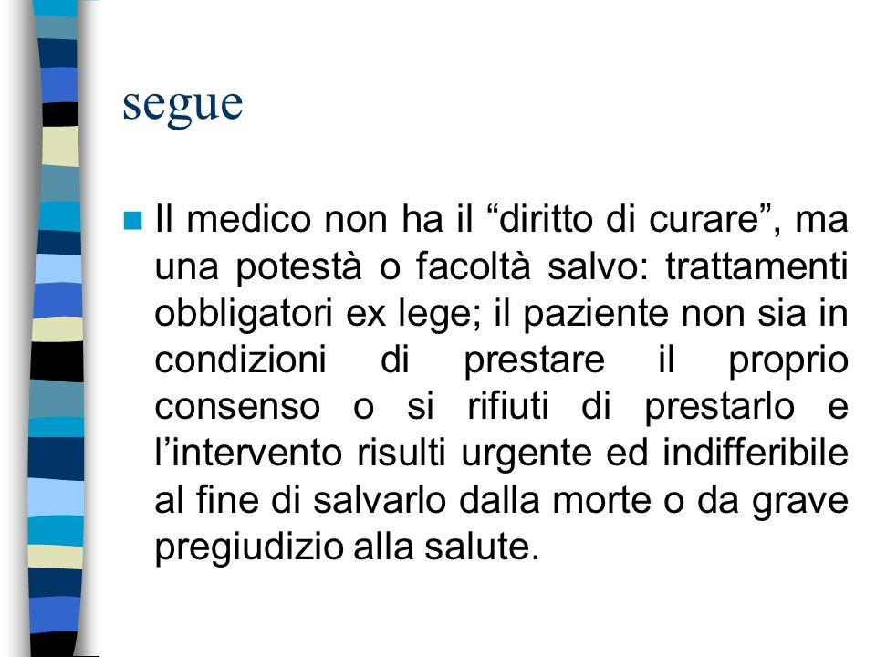 segue Il medico non ha il diritto di curare, ma una potestà o facoltà salvo: trattamenti obbligatori ex lege; il paziente non sia in condizioni di pre