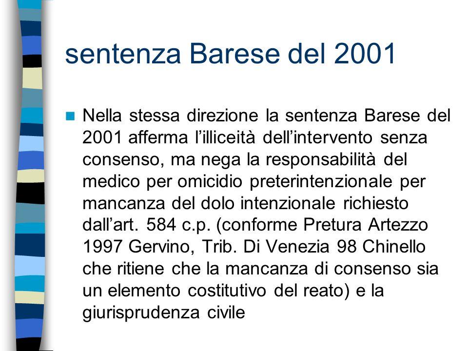 sentenza Barese del 2001 Nella stessa direzione la sentenza Barese del 2001 afferma lilliceità dellintervento senza consenso, ma nega la responsabilit