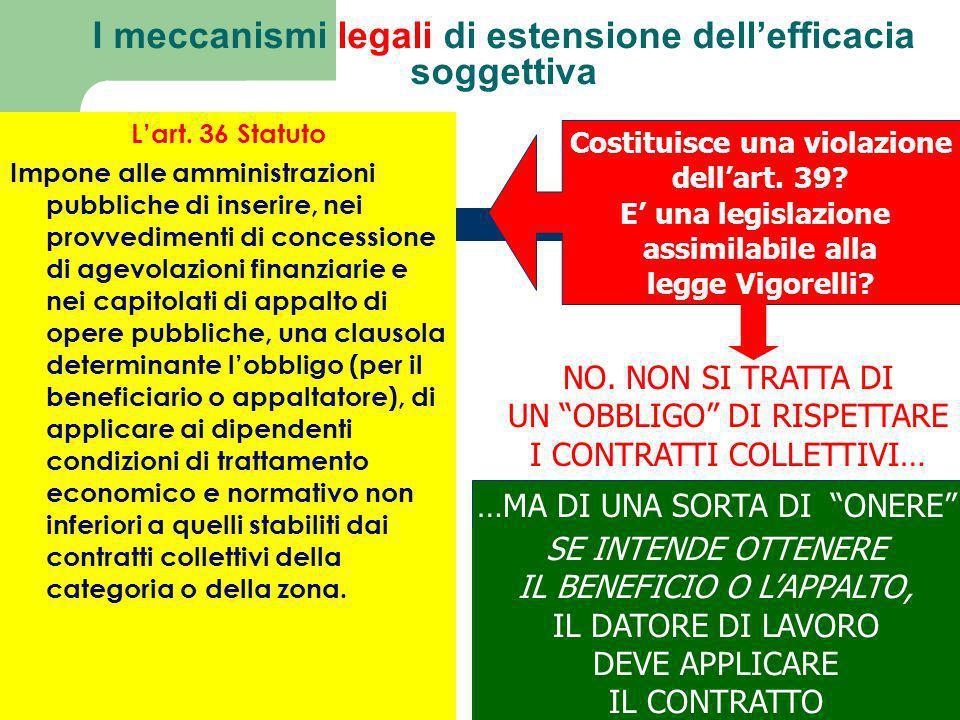 Il meccanismo fondato sulla combinazione tra art. 36 Cost e art. 2099 cod. civ. risolve il problema dellefficacia soggettiva dei contratti collettivi
