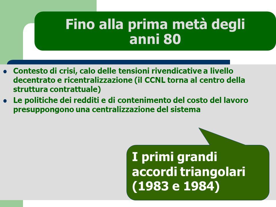 Fino alla prima metà degli anni 80 Contesto di crisi, calo delle tensioni rivendicative a livello decentrato e ricentralizzazione (il CCNL torna al ce
