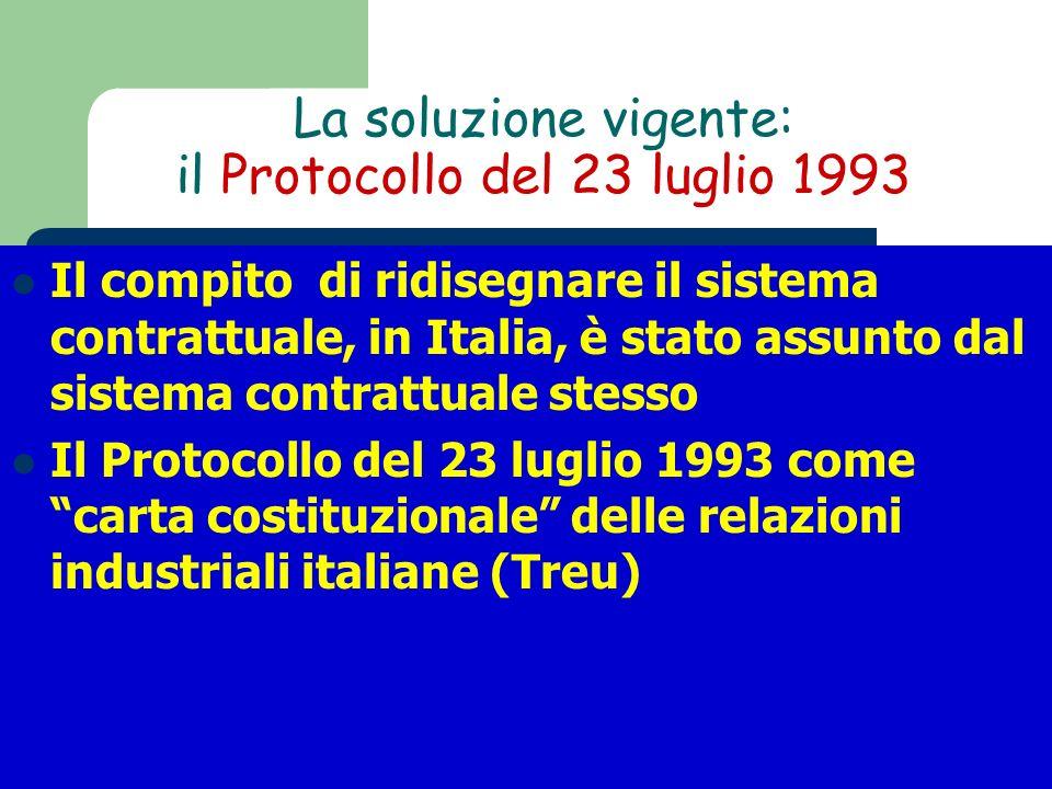 La soluzione vigente: il Protocollo del 23 luglio 1993 Il compito di ridisegnare il sistema contrattuale, in Italia, è stato assunto dal sistema contr