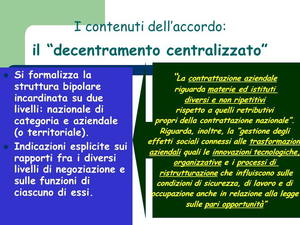 I contenuti dellaccordo: Si formalizza la struttura bipolare incardinata su due livelli: nazionale di categoria e aziendale (o territoriale). Indicazi