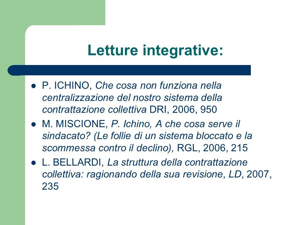 Letture integrative: P. ICHINO, Che cosa non funziona nella centralizzazione del nostro sistema della contrattazione collettiva DRI, 2006, 950 M. MISC