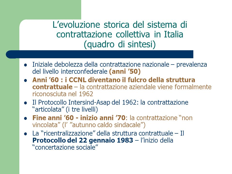 Levoluzione storica del sistema di contrattazione collettiva in Italia (quadro di sintesi) Iniziale debolezza della contrattazione nazionale – prevale