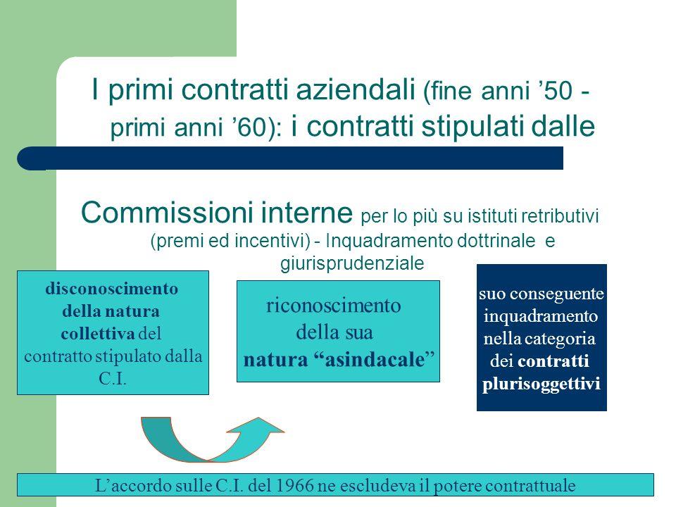 I primi contratti aziendali (fine anni 50 - primi anni 60): i contratti stipulati dalle Commissioni interne per lo più su istituti retributivi (premi
