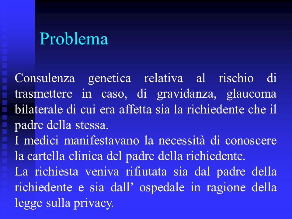 Problema Consulenza genetica relativa al rischio di trasmettere in caso, di gravidanza, glaucoma bilaterale di cui era affetta sia la richiedente che il padre della stessa.