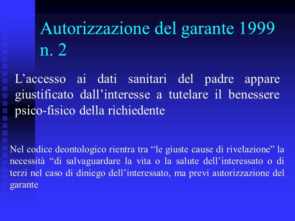 Autorizzazione del garante 1999 n.