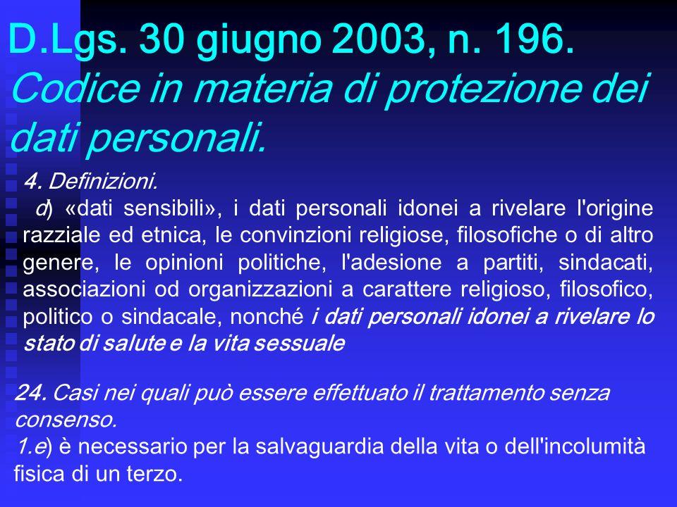D.Lgs. 30 giugno 2003, n. 196. Codice in materia di protezione dei dati personali.