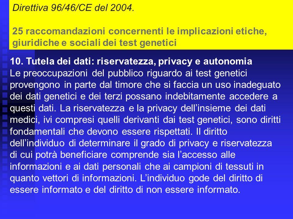 Direttiva 96/46/CE del 2004.